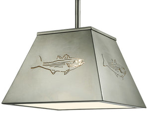 "15""Sq Striped Bass Ceiling Pendant"