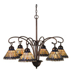 "31""W Tiffany Jeweled Peacock 6 Lt Victorian Chandelier"