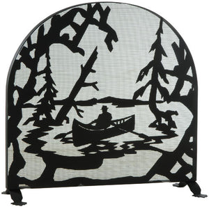 "35""W X 34.5""H Canoe At Lake Arched Metal Fireplace Screen"