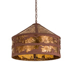 "20.25""W Loon On The Lake Wildlife Rustic Lodge Pendant 