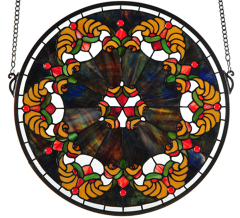 "19""W X 18""H Middleton Medallion Victorian Stained Glass Window"