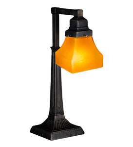 "20""H Bungalow Frosted Amber Arts & Crafts Desk Lamp"