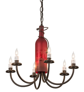 "18""W Tuscan Vineyard Frosted Red 6 Lt Wine Bottle Chandelier 