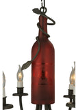 "17.5""W Tuscan Vineyard Frosted Red 6 Lt Wine Bottle Chandelier"