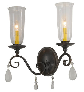 "16""W Wallis 2 Lt Victorian Glam Wall Sconce"