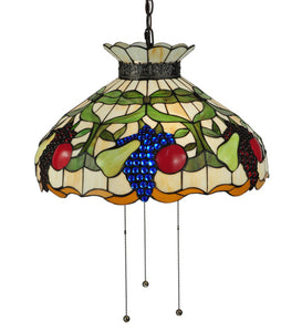 "20""W Fruit Stained Glass Ceiling Pendant 