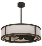 "36.5""W Maplewood Beige Linen LED Chandel-Air Ceiling Fan 