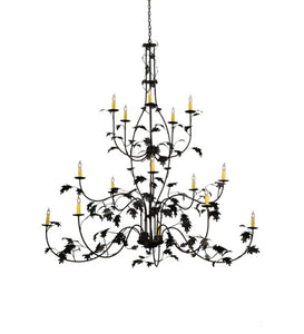 "72""W Oak Leaf 15 Lt Lodge Chandelier 