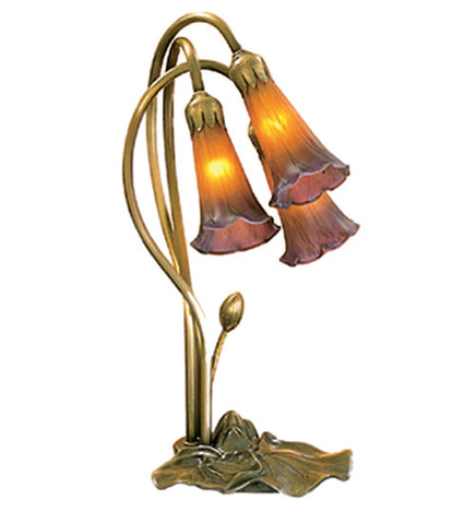 "16""H Amber/Purple Pond Lily 3 Light Accent Lamp"