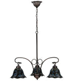 "30""W Tiffany Peacock Feather 3 Lt Chandelier"