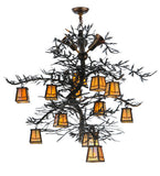 "52""W Pine Branch Valley View 12 Lt W/Uplights Lodge Chandelier"