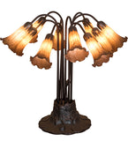 "22""H Amber Pond Lily 10 Lt Table Lamp"