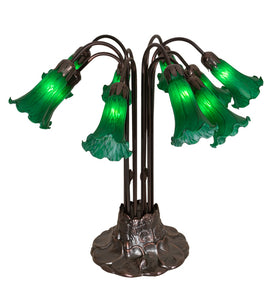 "22""H Green Pond Lily 10 Lt Floral Table Lamp"