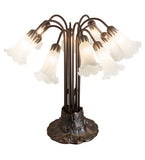 "22""H White Pond Lily 10 Lt Floral Table Lamp"