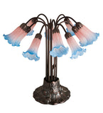 "22""H Pink/Blue Pond Lily 10 Lt Floral Table Lamp"
