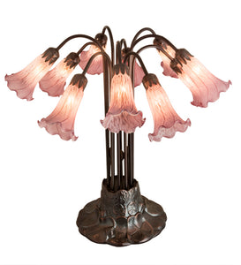 "22""H Cranberry Pond lily 10 Lt Floral Table Lamp"
