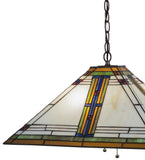 "20""Sq Nevada Mission Stained Glass Pendant"