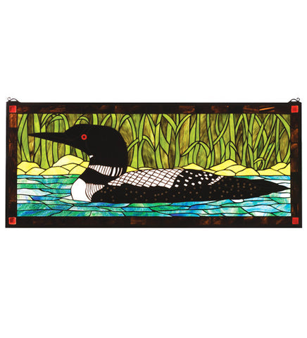 "40""W X 17""H Wildlife Loon Stained Glass Window"
