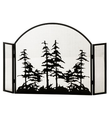 "50""W X 34""H Tall Pines Arched Folding Fireplace Screen"
