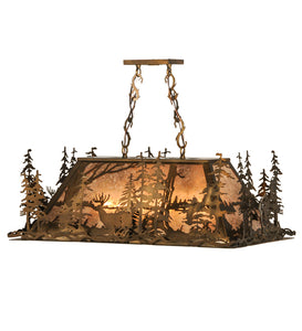 "34""L Deer Through The Trees Island/Billiard Oblong Pendant 