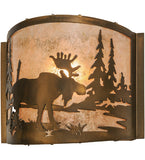 "11""W Moose At Lake Wildlife Wall Sconce"