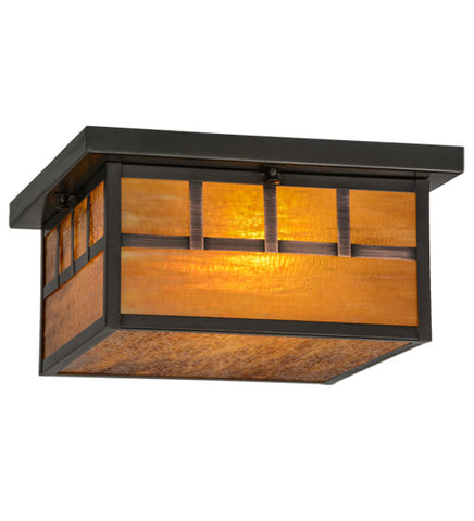 "14""Sq Hyde Park Triple Bar Mission Outdoor Flushmount"