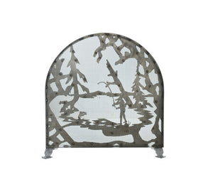 "30""W X 30""H Fly Fishing Creek Arched Metal Fireplace Screen"