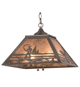 "16""Sq Fly Fishing Creek Pendant 