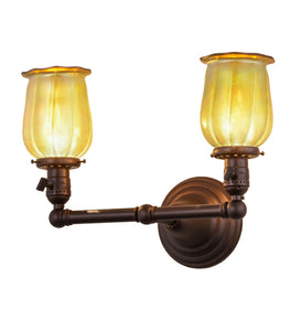 "15""W Revival Chelsea Favrile Victorian 2 Lt Wall Sconce"