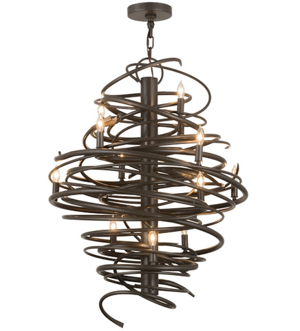 "28""W Cyclone 12Lt Industrial Chandelier"