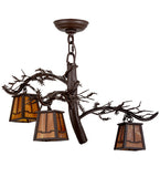 "24""W Pine Branch Valley View Rustic Lodge 3 Lt Chandelier"