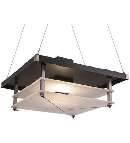 "30""Sq Metropolis Industrial Contemporary Pendant"