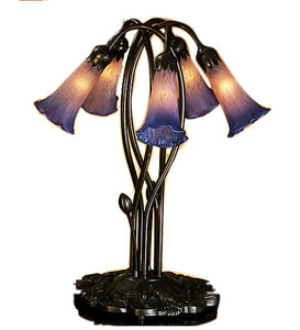 "16.5""H Pink/Blue Pond Lily 5Lt Tiffany Accent Lamp"