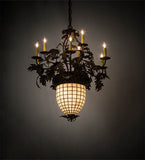 "28""W Greenbriar Oak 9 Arm Tiffany Lodge Chandelier"