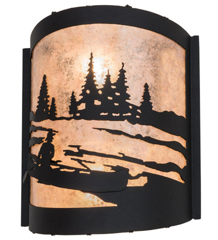 "10""W Canoe At Lake Rustic Nautical Wall Sconce"
