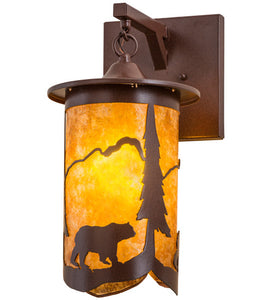 "8""W Fulton Lone Bear Wildlife Hanging Wall Sconce"