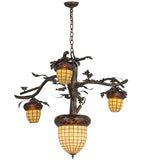 "48""W Acorn Branch 4 Lt Tiffany Lodge Chandelier"