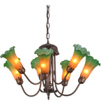 "24""W Amber/Green Pond Lily 7 Lt Tiffany Floral Chandelier"
