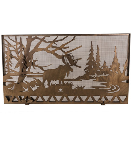 "63""W X 35""H Moose Creek Metal Fireplace Screen"