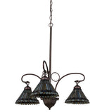"24""W Tiffany Jeweled Peacock 3 Lt Victorian Chandelier"