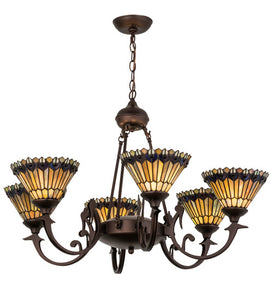 "33""W Tiffany Jeweled Peacock 6 Lt Victorian Chandelier"