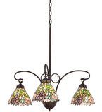 "28""W Stained Glass Wisteria 3 Lt Chandelier"