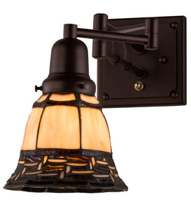 "6""- 4""W Ilona Stained Glass Swing Arm Wall Sconce"
