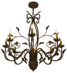 "36""W Bordeaux 8 Lt Rustic Lodge Chandelier"