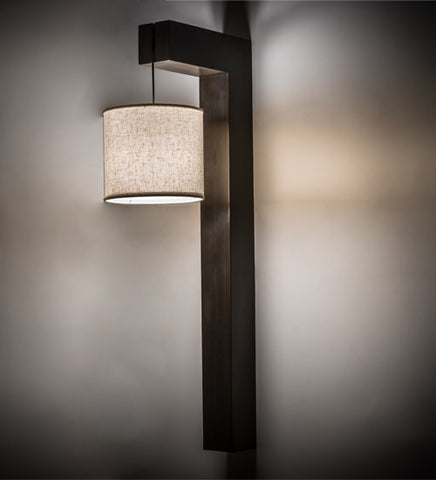 "12""W Cilindro Hickory Contemporary Fabric Sconce"