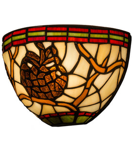 "8""W Pinecone Stained Glass Lodge Wall Sconce"
