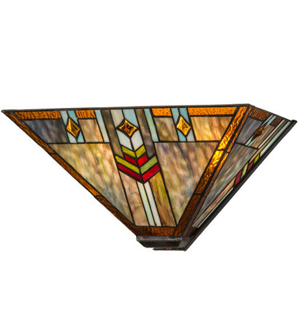 "16""W Prairie Wheat Stained Glass Southwest Wall Sconce"