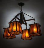 "28""W Prairie Loft 4 Lt Mission Lodge Chandelier"