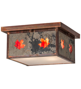 "14""Sq Hyde Park Maple Leaf Outdoor Flushmount"