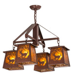 "28""W Deer at Dawn 4 Lt Rustic Wildlife Chandelier"